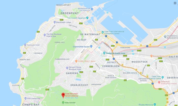 Kaart Tafelberg